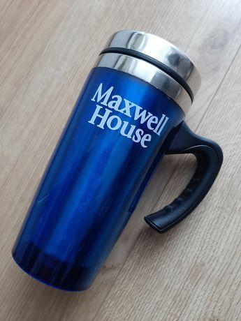 Maxwell House kubek termiczny niebieski kawa herbata z rączką modny