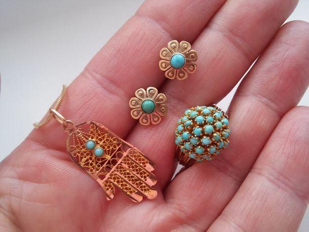 Złota Biżuteria z turkusami -585