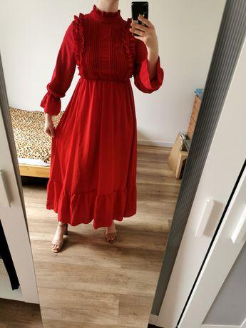 Przepiękna długa czerwona sukienka z falbanami S/M