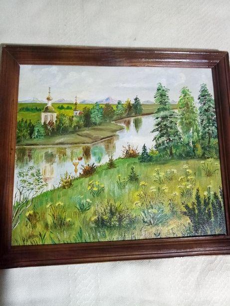 Картина церковь у реки