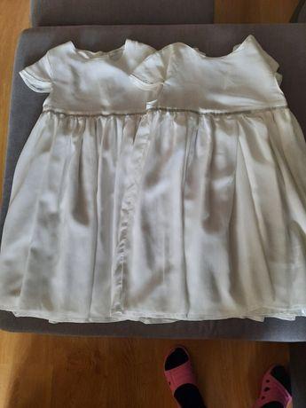 Sukienki biale dla blizniaczek 134