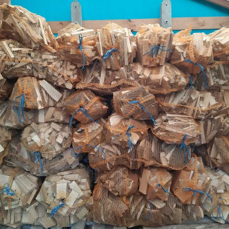 Drewno opałowe workowane suche, rozpałka sosnowa, duży worek