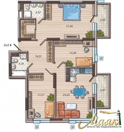 Продается 3к квартира, 116 м2, в ЖК Французский квартал 2