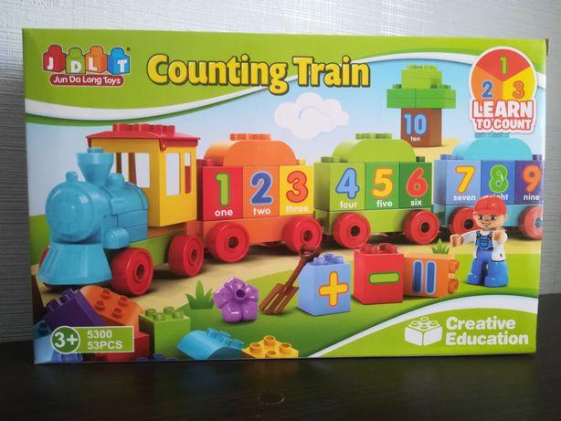 Конструктор jdlt поезд, цифры 53 дет аналог лего дупло lego duplo 5300