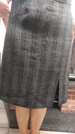 Spódnica krata czarna-grafit brokatowa nitka L -midi kraciasta