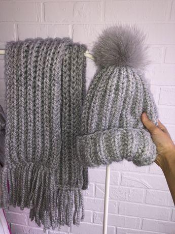 Вязаный набор шапка и шарф с натуральным помпоном Zara