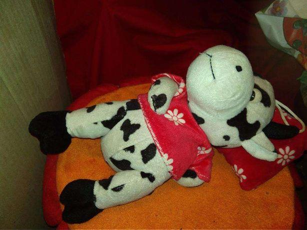 игрушка 27см бычок бык спит на подушке мычит белая пятнистая корова
