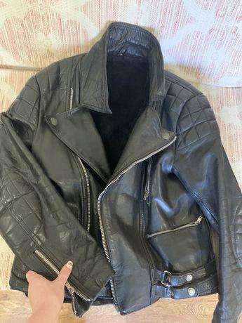 Куртка косуха байкерская, кожа,HM парка