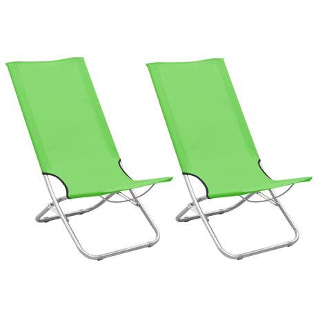 vidaXL Cadeiras de praia dobráveis 2 pcs tecido verde 310379