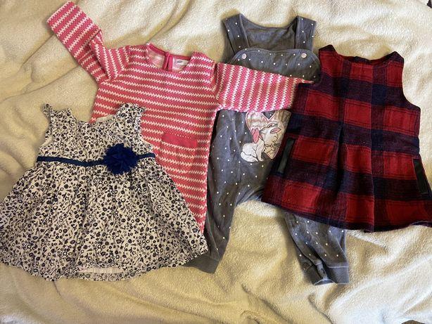 Zestaw sukienek i spodenki dla dziewczynki 62-68 cm