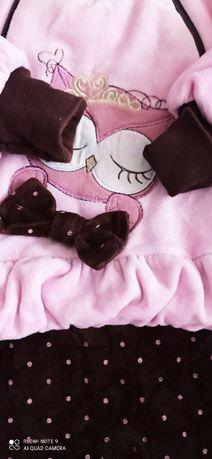 Комбинезон велюровый Совушка для девочки 62-68 см Демисезонный