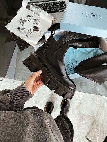 Ботинки Prada ankle boot / Женские осенние ботинки прада! Кожа! 36-41