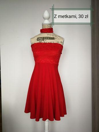 Sukienka r. 34 36 choker czerwona