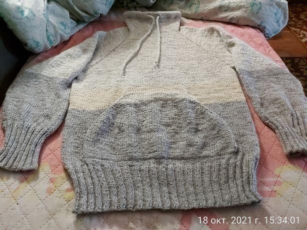 Вязанный свитер худи женский
