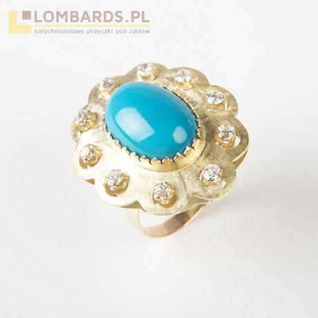 złoty pierścionek p. 585 z brylantami i turkusem