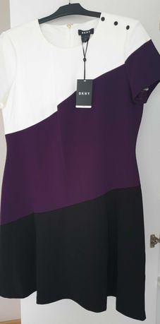 Sukienka DKNY, sukienka biała, fioletowa, mała czarna, rozmiar 44
