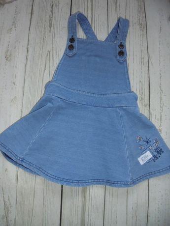 sukienka jeansowa ogrodniczka NEXT 9-12 miesięcy 80
