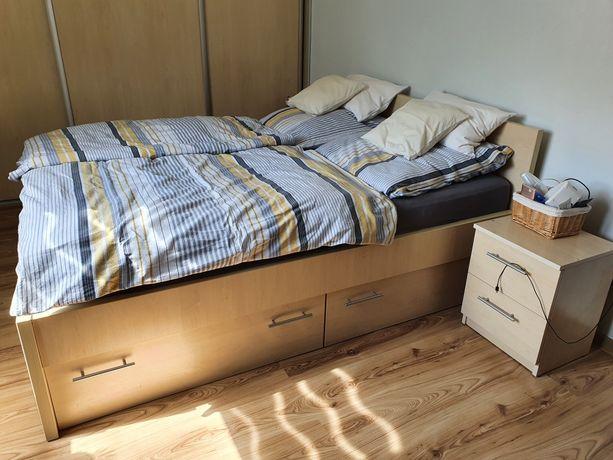Łóżko 160x200 z 4 pojemnikami rama stelaż 2 szafki nocne i komoda