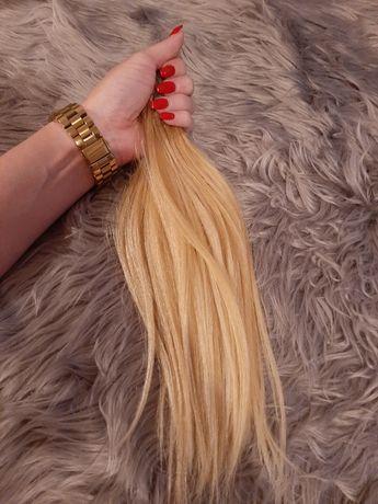 Włos dziewiczy jasny blond doczepy stan idealny doczepiane dziewicze