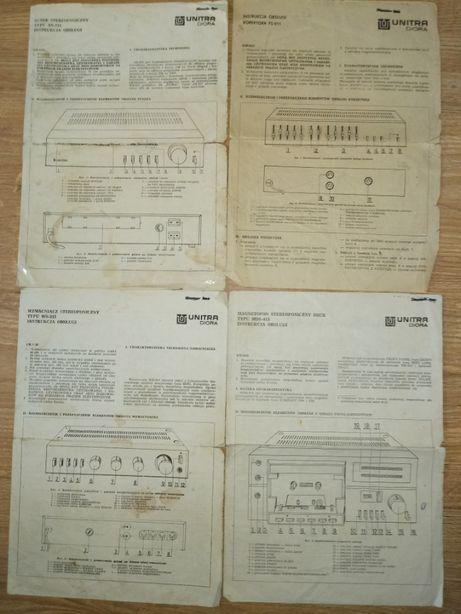 Komplet oryginalnych instrukcji ze schema. wieży Unitra Diora