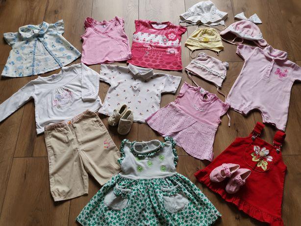 MEGA PAKA ubrań dla dziewczynki bluzki sukienki czapki rozmiar 74