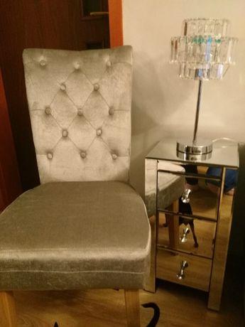 Przepiękne nowe srebrne krzesło welur NOWE