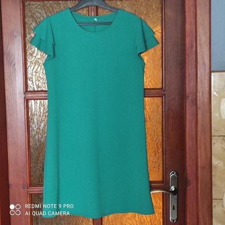 Sukienka zielona z falbanką 40 wysyłka