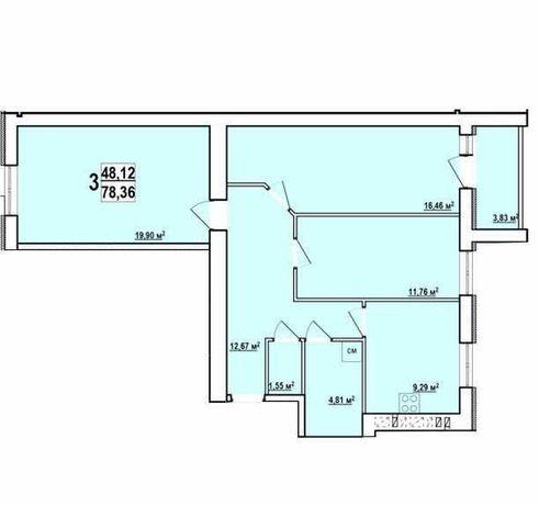 Мира-1 Метро Масельского В продаже 3к квартира  Двухсторонняя-79м2. TZ