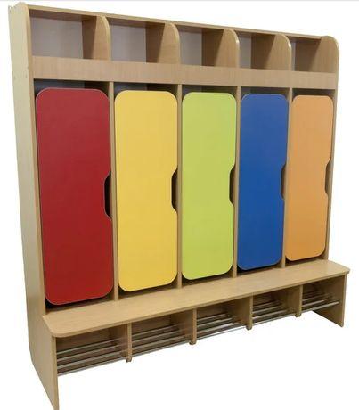 Шкаф детский 5-местный для раздевалки в детский сад. Шкафчики в садик