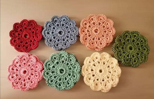 Bases de copos em crochet