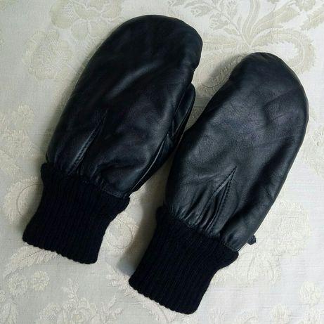 Мужские кожанные варежки рукавиці