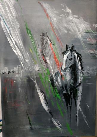 """Obraz olejny """"Konie"""" 100 x 70 cm"""