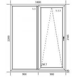 Drzwi balkonowe, 3 szybowe białe sówanka PSK nowe szer 2340x2210