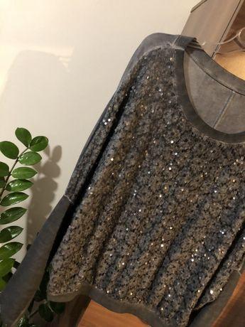 Szary puchowy sweterek z cenikami S/M