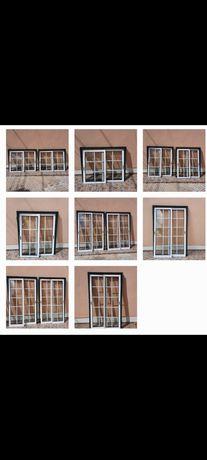 Portas/janelas de correr, alumínio, vidro duplo.