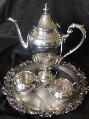 столовое серебро  (925) кофейник, сахарница и молочник GORHAM+поднос