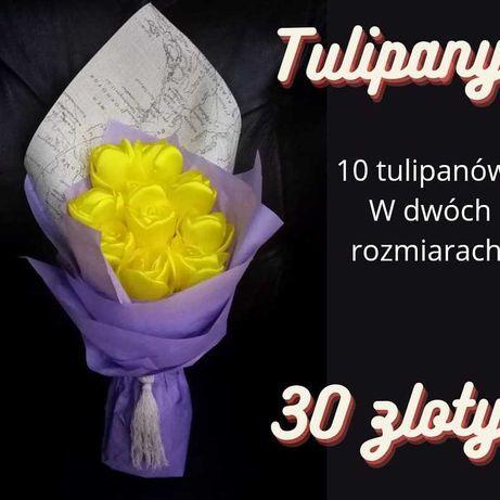 Bukiet wiosenny,prezent ślubny, tulipany ze wstążki