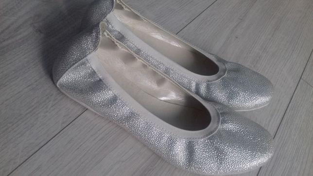 Baleriny srebrne jak nowe