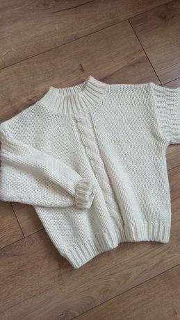 Sweter kremowy wełna M S ecru golf