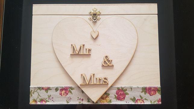 Skrzynka skrzynia na koperty pudełko na obrączki ślub ślubne