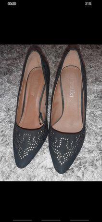 Buty botki szpilki damskie czarne zamszowe rozmiar 39 Jennifer