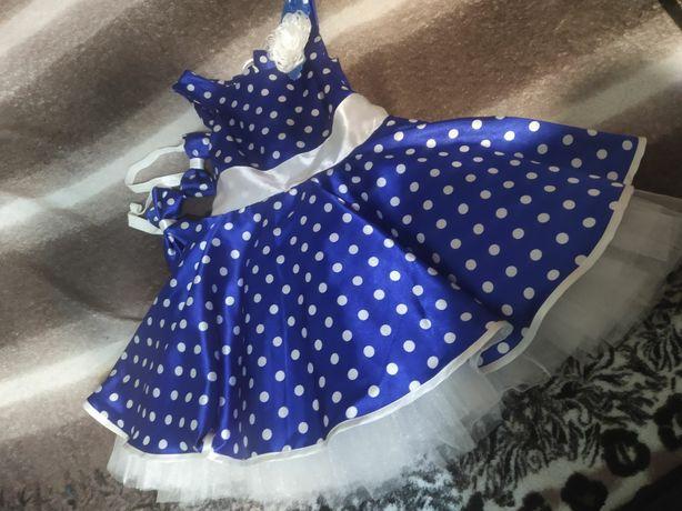 Праздничное платье 2-3 года.Длина платья 58 см