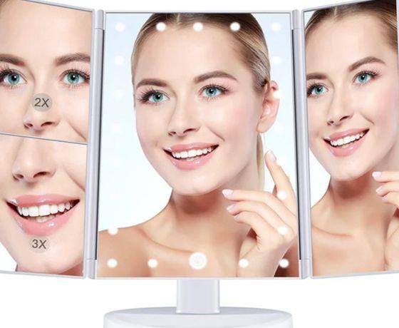 Тройное зеркало с подсветкой с 22 светодиодами
