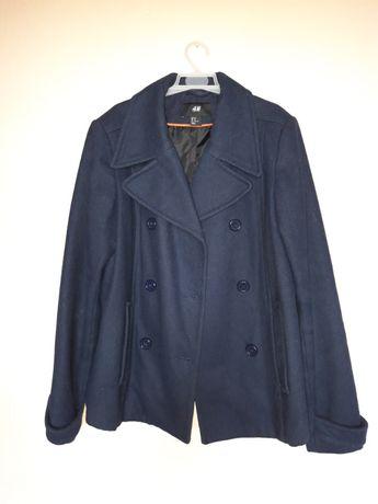 granatowy elegancki płaszcz H&M