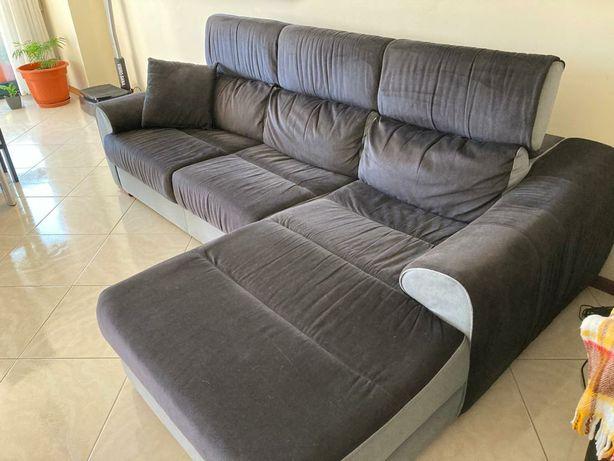 Sofá tecido chaise longue 3 lugares Sofá em tecido