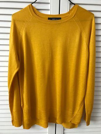 sweterek żółty ZARA S sweter żółty zara s bluzka zara s musztardowa