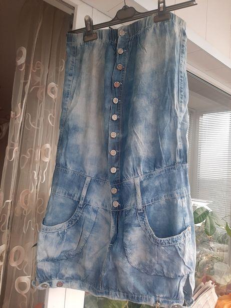 Джинсовый сарафан-платье без бретелей