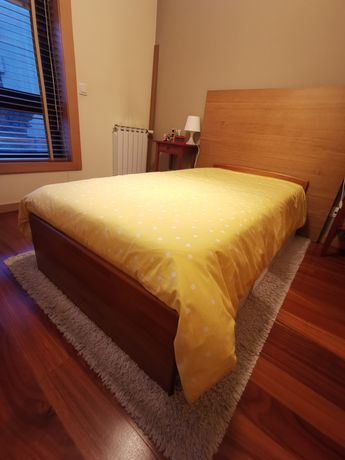 Cama solteiro madeira maciça + estrado + colchão molas - marca Cerne