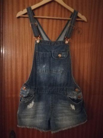 Jardineiras calção/ blusas/saia ganga