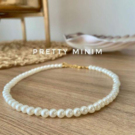 Naszyjnik perełki perły handmade stal nierdzewna